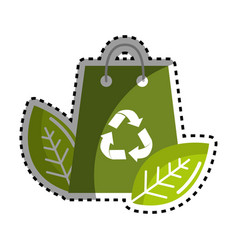 sticker green bag with recycling symbol and leaves vector image