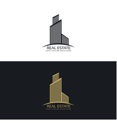 Stylish skyscraper logo for real estate company vector
