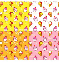 Ice creams and cupcakes seamless pattern vector