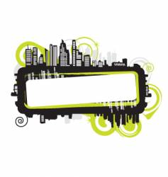 Cityscape silhouette frame vector