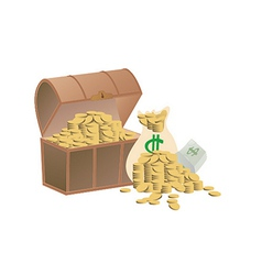 Wooden treasure chest loaded with golden coins vector