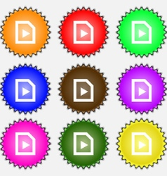 Play icon sign a set of nine different colored vector