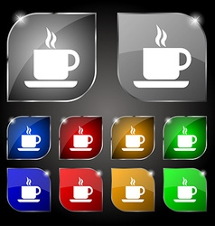 Coffee icon sign set of ten colorful buttons with vector