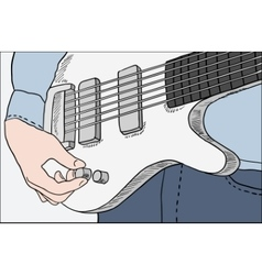 Closeup of man tuning guitar vector