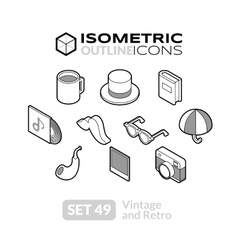 Isometric outline icons set 49 vector