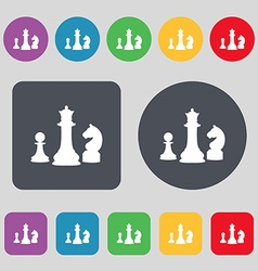 Chess game icon sign a set of 12 colored buttons vector