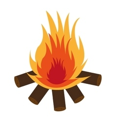 Wooden logs with flame graphic vector