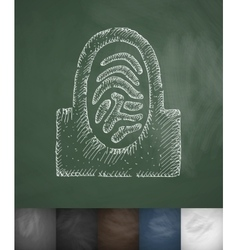 Fingerprint icon Hand drawn vector image