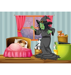 A witch looking at the girl sleeping inside the vector