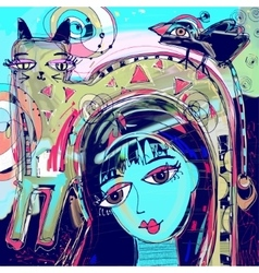 Abstract digital painting of girl with a cat and vector