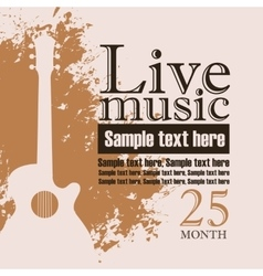 acoustic guitar on grungy color background vector image vector image