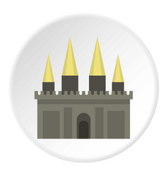 Ancient castle palace icon circle vector