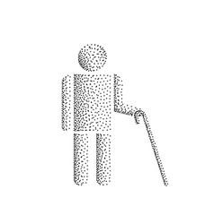 blind man stick figure vector image