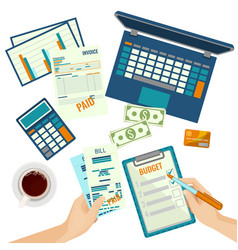 budget plan human hands and papers on vector image