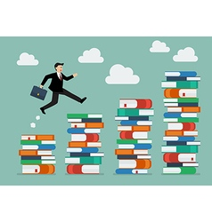 Businessman jumping over higher stack of books vector