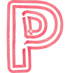 Capital letter p drawing with red marker vector