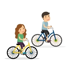 Couple riding bicycles vector
