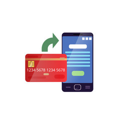 credit card and mobile phone showing payment vector image