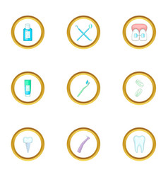 dental treatment icons set cartoon style vector image