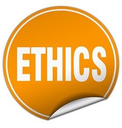 Ethics round orange sticker isolated on white vector