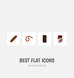 Flat icon eating set of bratwurst confection vector