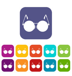 Glasses for blind icons set vector