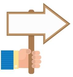 Hand holds a pointer arrow vector