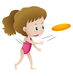 Little girl throwing frisbee vector