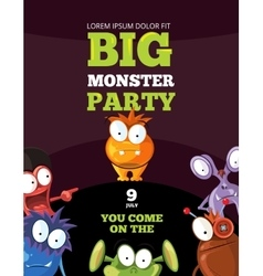 Monster party card invitation poster backdrop vector image vector image