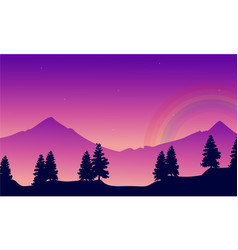 Mountain with rainbow landscape silhouettes style vector