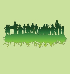 People at green silhouette vector