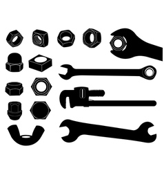 Screw nut and wrench vector image vector image