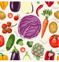 seamless pattern with colored vegetables vector image