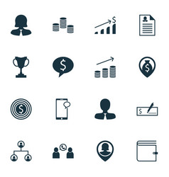 Set of 16 hr icons includes wallet phone vector