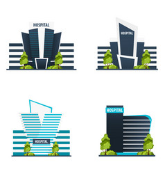 set of hospital modern building in flat style vector image