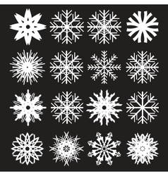 Snowflakes Set on Black Background vector image