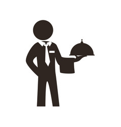 Waiter catering food restaurant dish vector