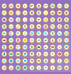 100 computer network icons set in cartoon style vector image