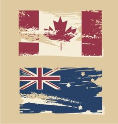 Australian flag Canadian flag vector image