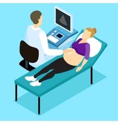 Pregnancy ultrasound scan isometric design vector