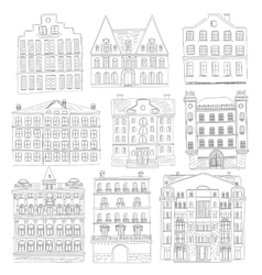 Historic old buildings line style outline old vector