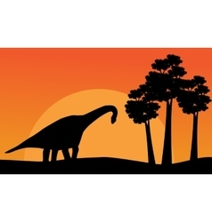 Beautiful scenery dinosaur brachiosaurus of vector