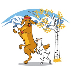 Dogs walking together vector image