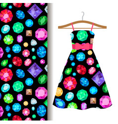 Women dress fabric pattern with gems vector