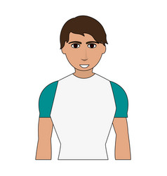 Color image cartoon man with atlethic body vector