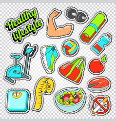 woman healthy life doodle with sport elements vector image