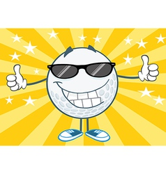 Cool golf ball with sunglasses vector image