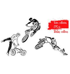 Set of bike rider jumping representatives of vector