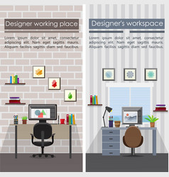 Flat designer workplaces vertical banners vector