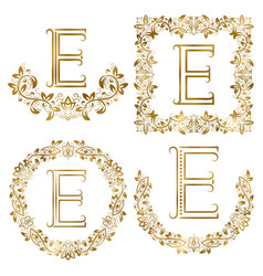 Golden e letter ornamental monograms set heraldic vector